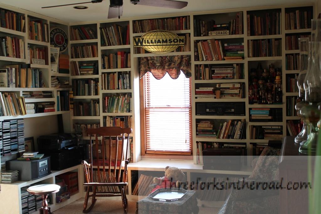 Before:  Books, books, books.