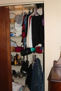 Let's begin with the worst case example.  My closet (blush with embarrassment...)