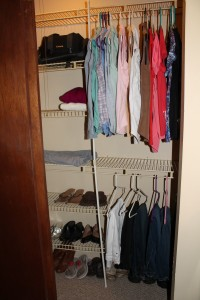 Shelves neat.  All clothing hung on similar hangars arranged by color and sleeve length... with breathing space.