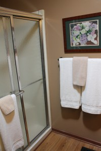 After.  A new towel bar.  Soft, fluffy white towels.