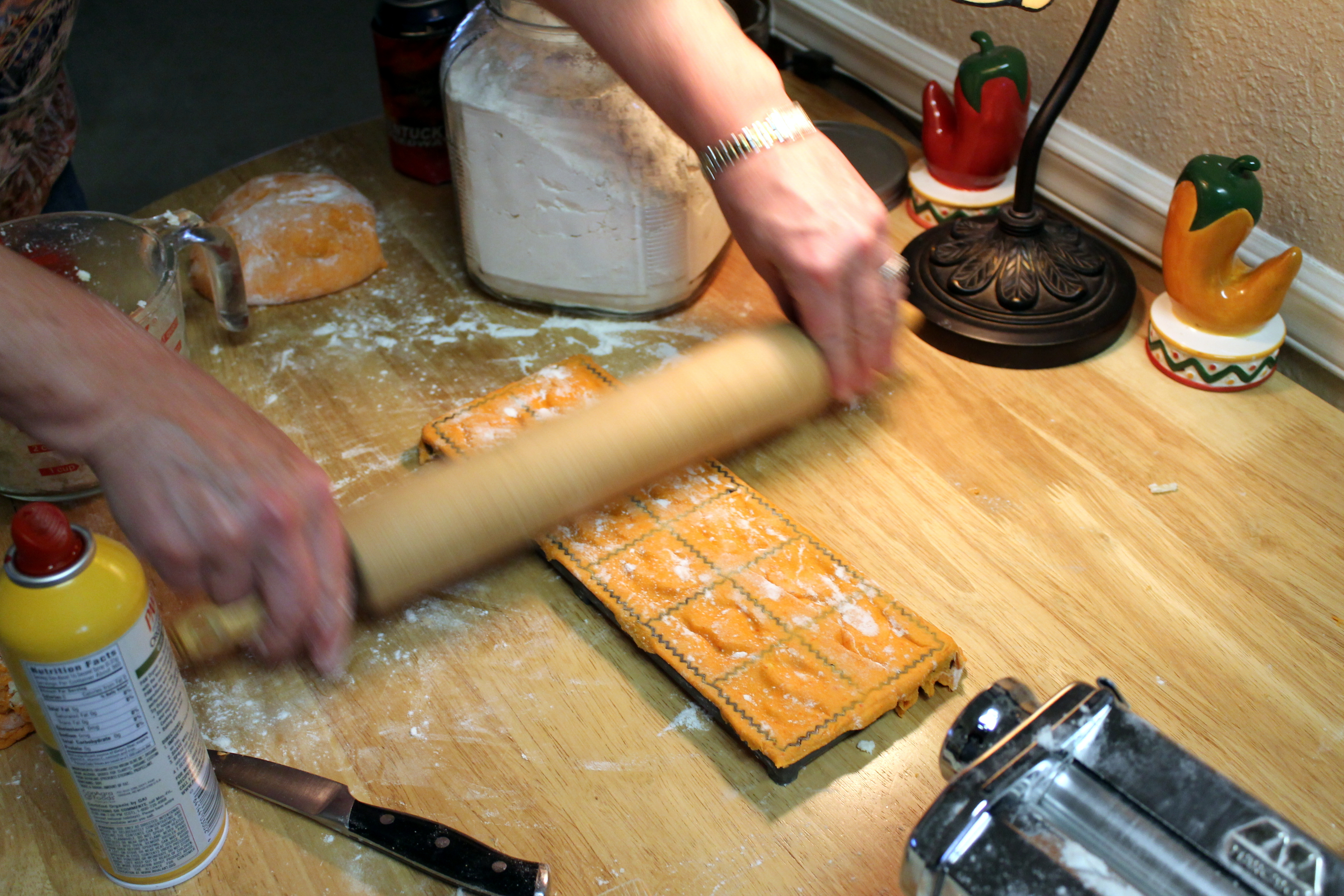 We filled the ravioli and prepared to take the lovely pasta pillows out of the maker...